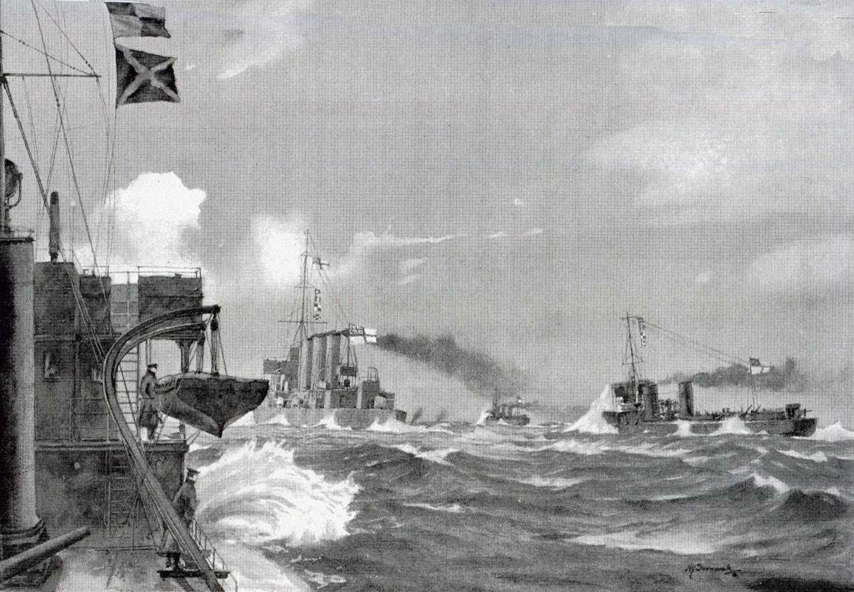 HMS Undaunted and the four British destroyers sight the four German torpedo boats in the Texel action on 17th October 1914 in the First World War: picture by H.G. Swanwick