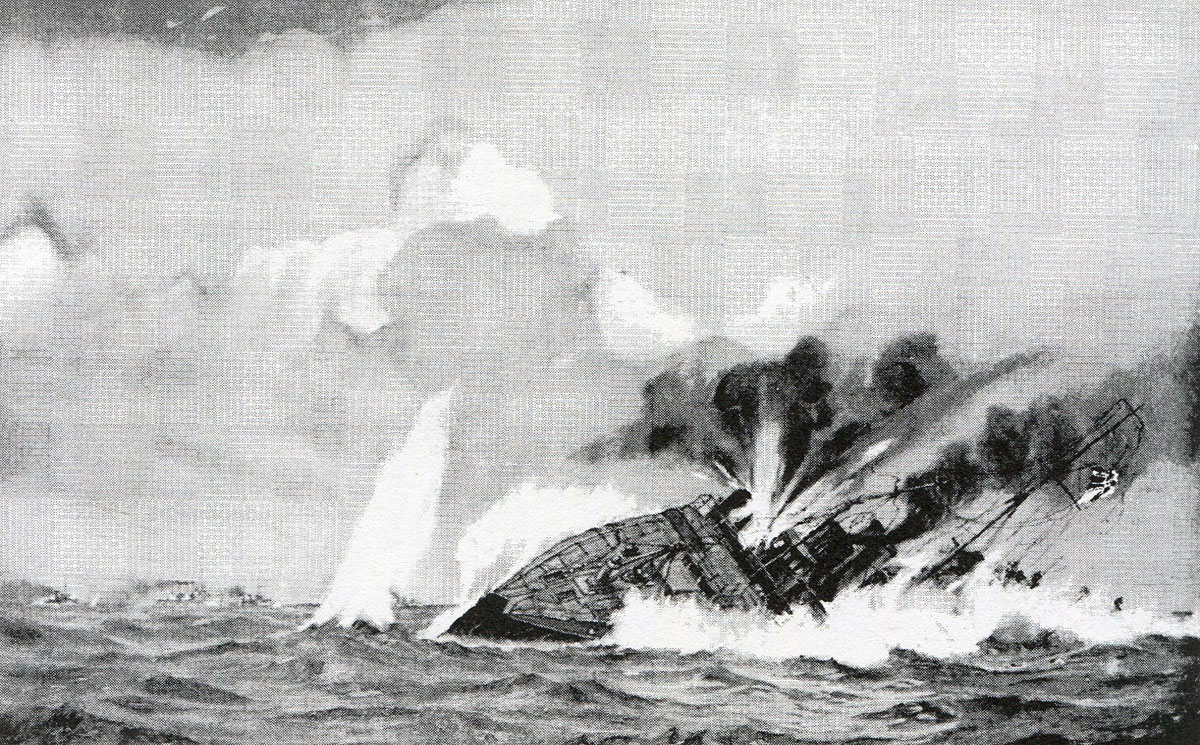 German torpedo boat S119 sinks  in the Texel action on 17th October 1914 in the First World War: picture by H.G. Swanwick