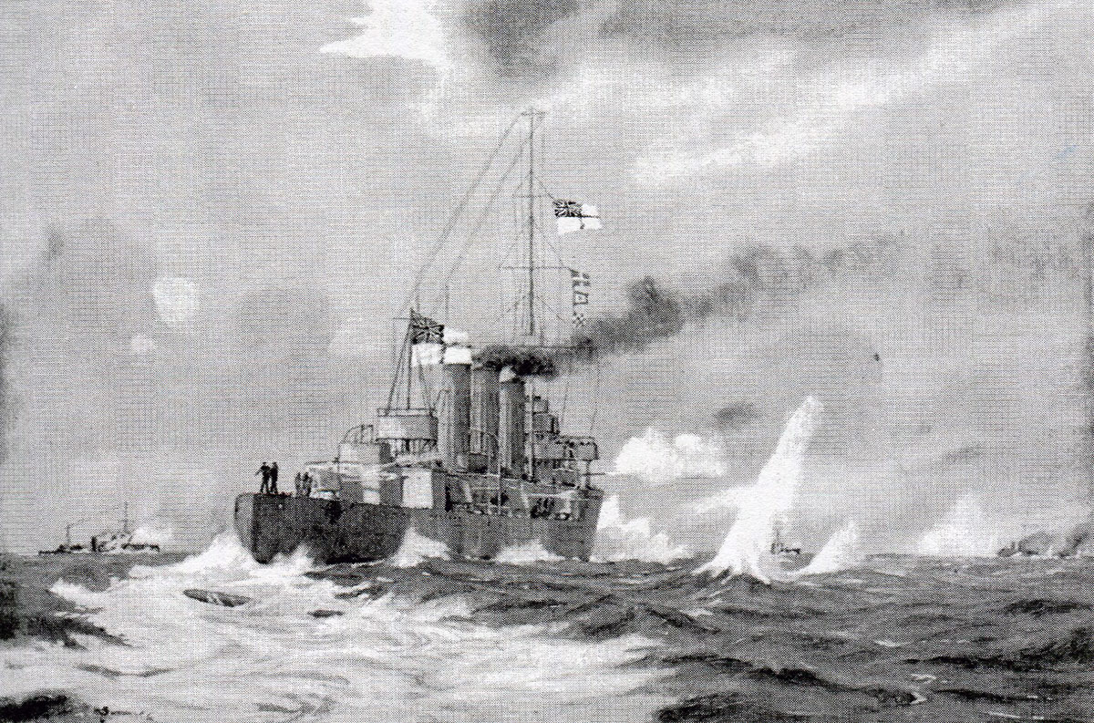 HMS Undaunted evades a German torpedo  in the Texel action on 17th October 1914 in the First World War: picture by H.G. Swanwick
