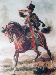 Trumpeter 11th Hussars: Charge of the Light Brigade at the Battle of Balaclava on 25th October 1854 in the Crimean War: picture by Harry Payne