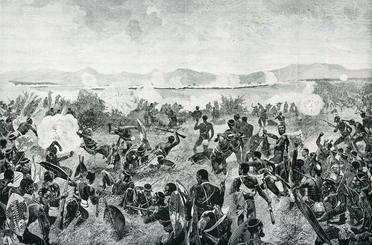 Zulu attack at the Battle of Ulundi on 4th July 1879 in the Zulu War-the British square is in the distance: picture by Richard Caton Woodville