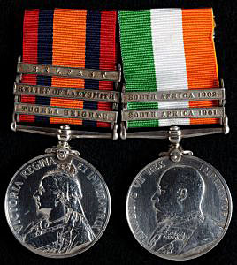 Queen's South Africa Medal with clasp for 'Relief of Ladysmith' and King's South Africa Medal: Battle of Pieters, fought from 14th to 28th February 1900 in the Great Boer War