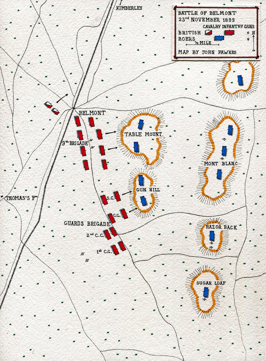 Map of the Battle of Belmont, fought on 23rd November 1899 in the Great Boer War: map by John Fawkes