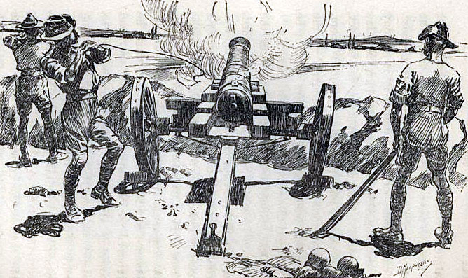 Firing 'Lord Nelson', the muzzle-loading naval gun: Siege of Mafeking 14th October 1899 to 16th May 1900 in the Great Boer War