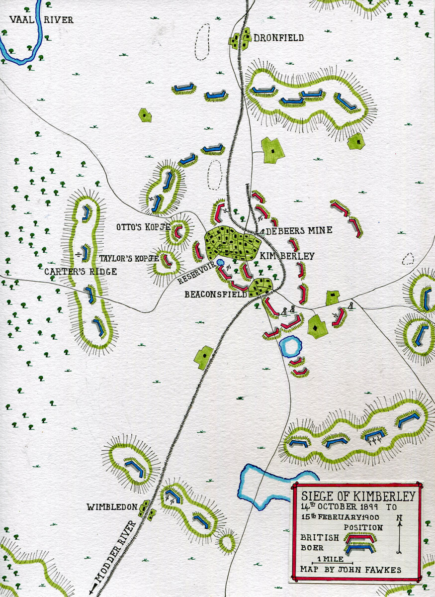 Map of the Siege of Kimberley, 14th October 1899 to 15th February 1900 during the Great Boer War: map by John Fawkes