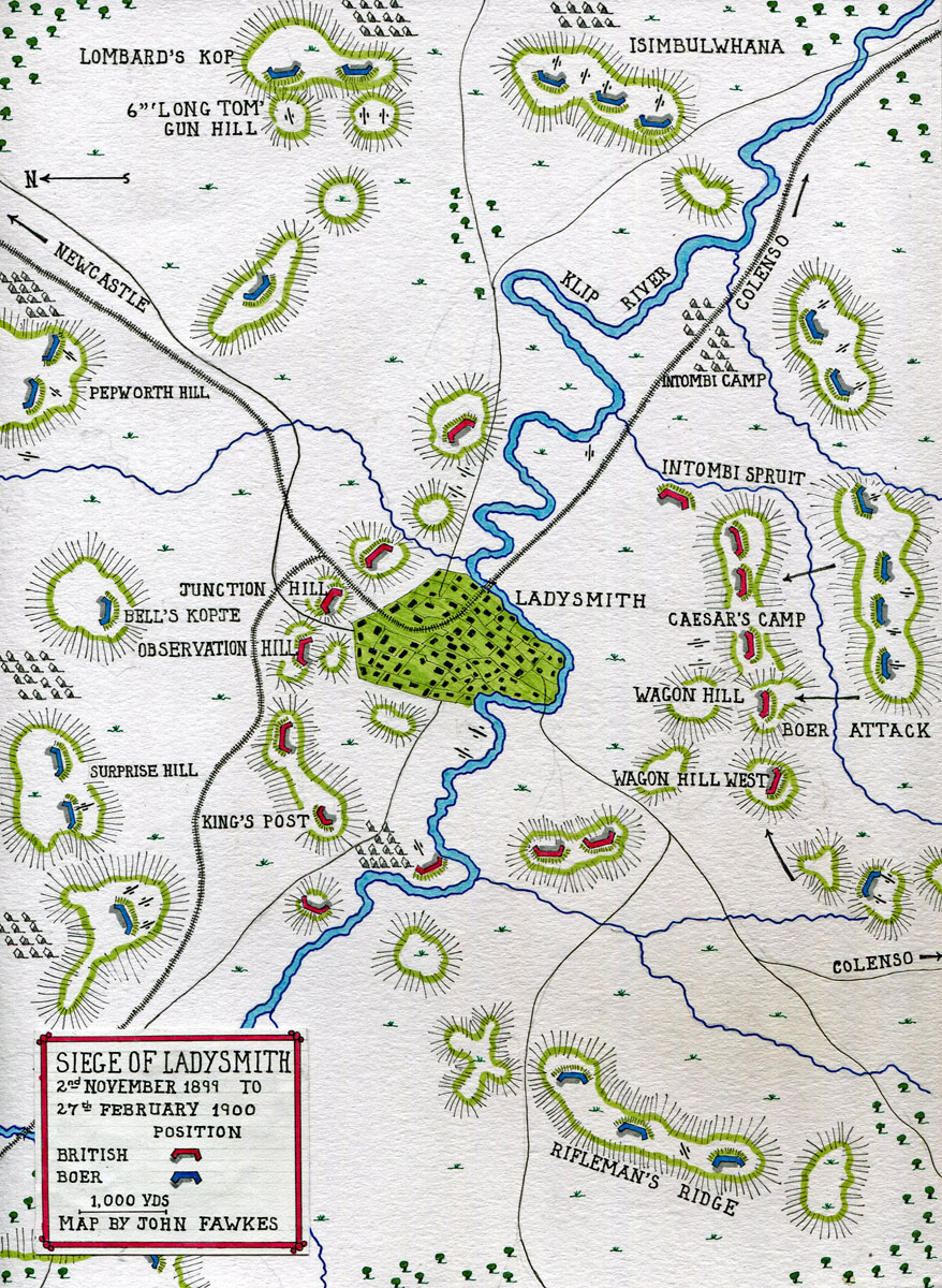 Map of the Siege of Ladysmith, 2nd November 1899 to 27th February 1900 in the Great Boer War: map by John Fawkes