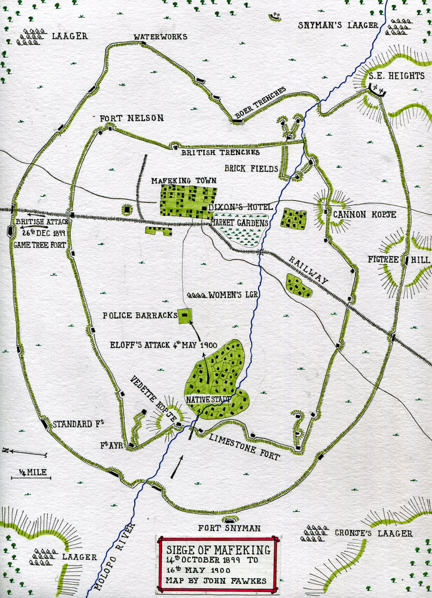 Map of the Siege of Mafeking 14th October 1899 to 16th May 1900 in the Great Boer War: map by John Fawkes