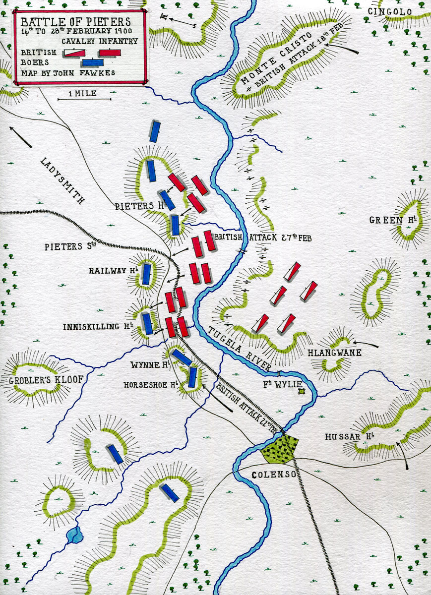 Map of the Battle of Pieters fought from 14th to 28th February 1900 in the Great Boer War: map by John Fawkes