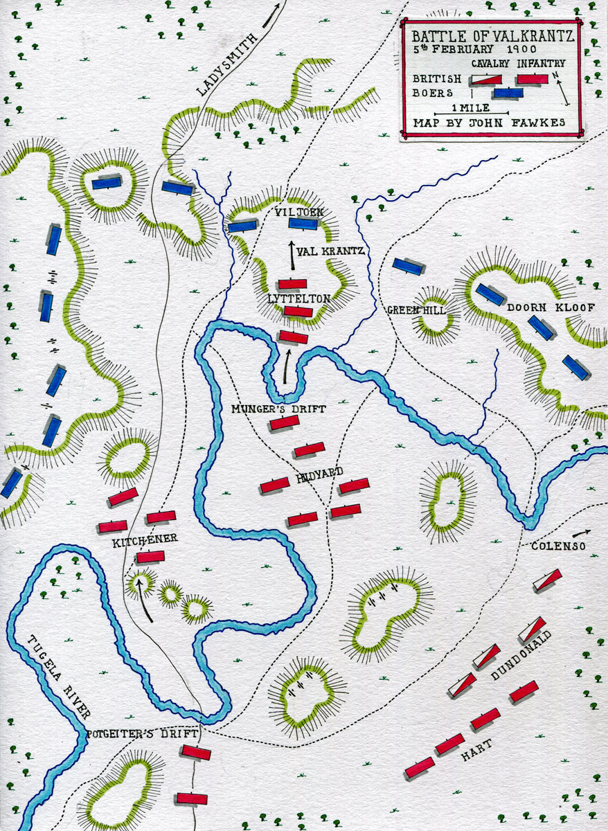 Map of the Battle of Val Krantz on 5th February 1900 in the Great Boer War: map by John Fawkes
