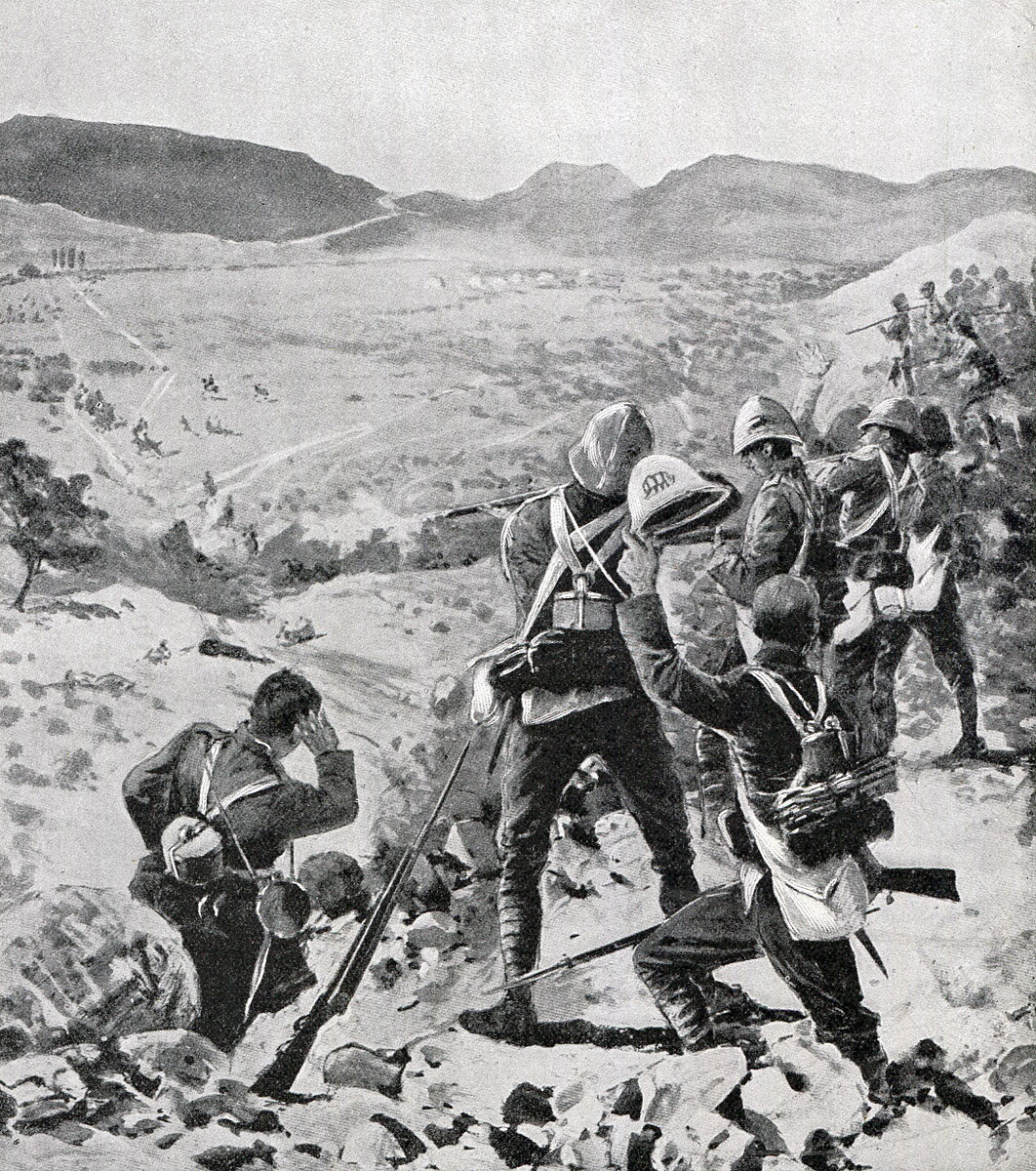 West Yorks watching the Boers retreat from the top of Pieters Hill: Battle of Pieters, fought from 14th to 28th February 1900 in the Great Boer War: picture by H.C. Seppings Wright
