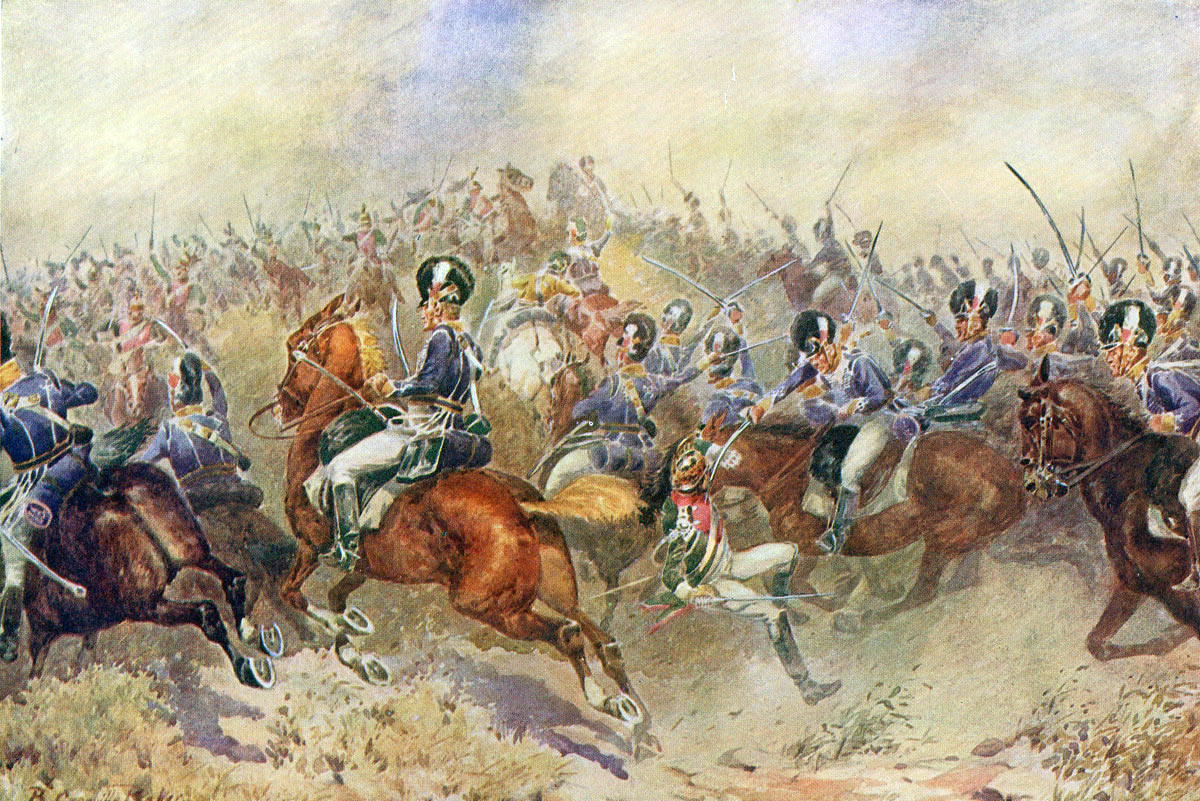 British 12th Light Dragoons in the charge at the Battle of Salamanca on 22nd July 1812 during the Peninsular War, also known as the Battle of Los Arapiles or Les Arapiles: picture by B. Granville Baker