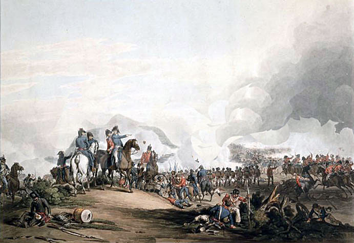 Lord Wellington at the at the Battle of Salamanca on 22nd July 1812 during the Peninsular War, also known as the Battle of Los Arapiles or Les Arapiles: picture by John Augustus Atkinson