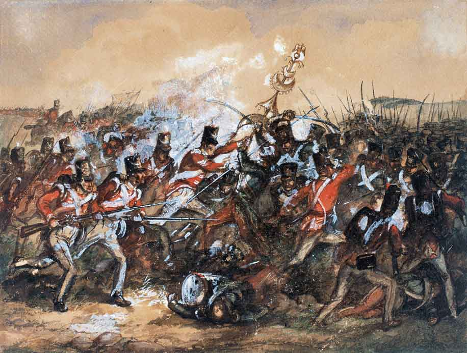 88th Connaught Rangers capturing the 'Jingling Johnnie' from the French 101st Regiment at the Battle of Salamanca on 22nd July 1812 during the Peninsular War