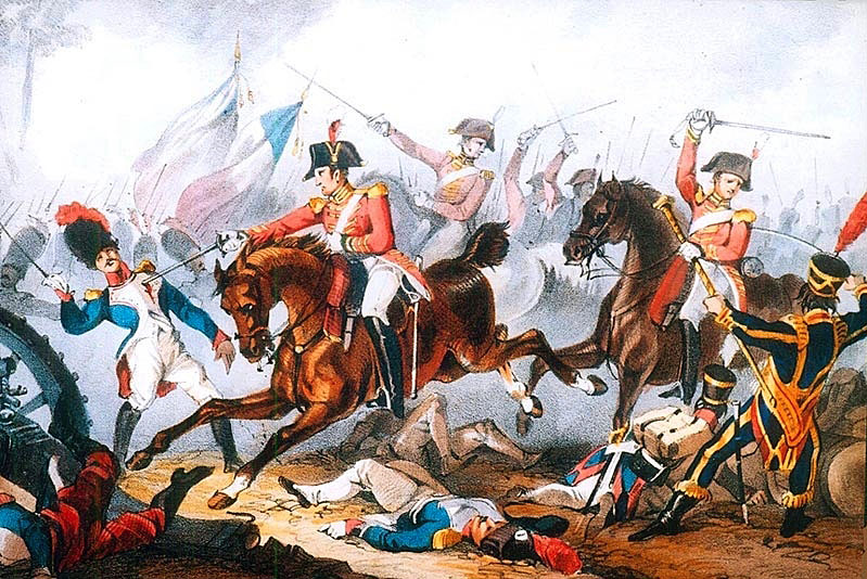 Charge of the 5th Dragoon Guards of Le Marchant's Brigade at the Battle of Salamanca on 22nd July 1812 during the Peninsular War, also known as the Battle of Los Arapiles or Les Arapiles
