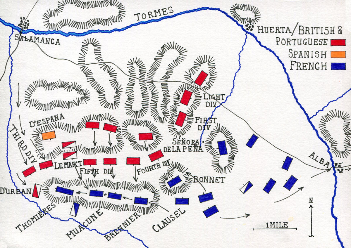 Map of the Battle of Salamanca on 22nd July 1812 during the Peninsular War: map by John Fawkes