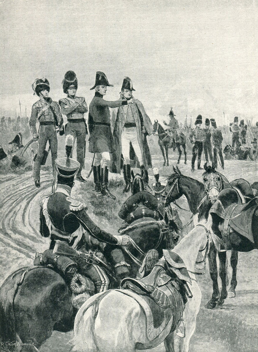 Wellington instructing Pakenham to begin the attack on the French columns at the Battle of Salamanca on 22nd July 1812 during the Peninsular War: picture by Richard Caton Woodville