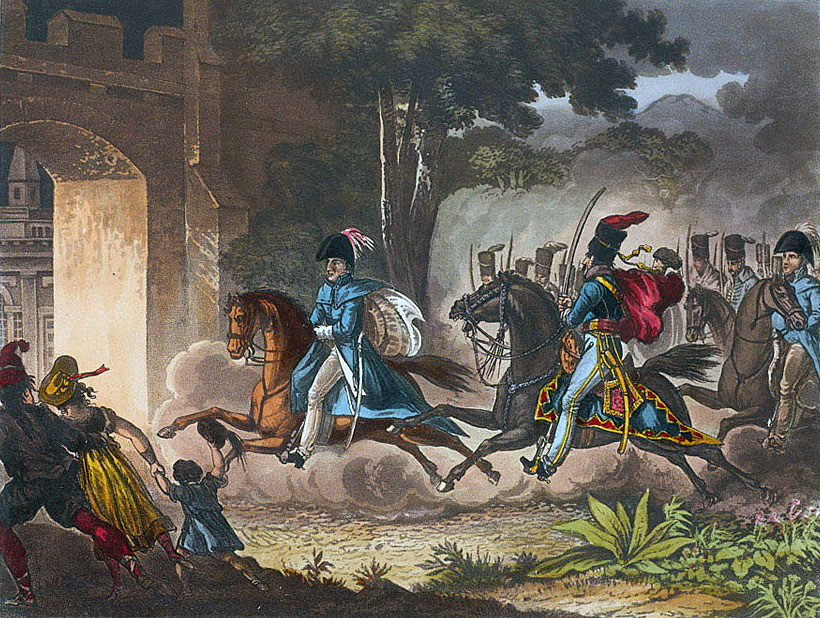 Lord Wellington entering Salamanca before the Battle of Salamanca on 22nd July 1812 during the Peninsular War, also known as the Battle of Los Arapiles or Les Arapiles
