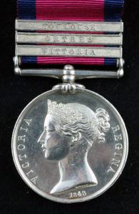 Military General Service Medal with clasp for the Battle of Vitoria fought on 21st June 1813 during the Peninsular War