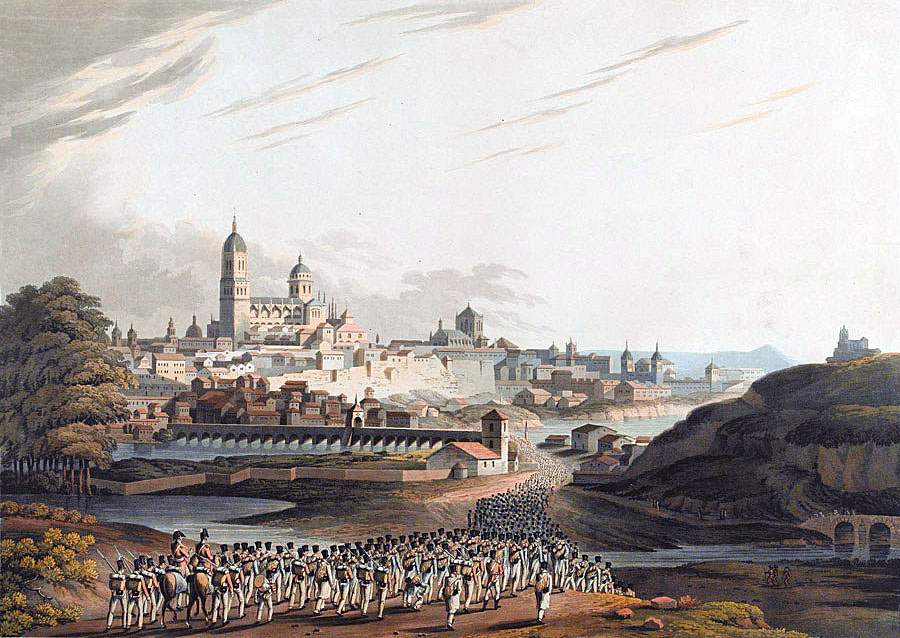 British troops escorting French prisoners into the City of Salamanca after the Battle of Salamanca on 22nd July 1812 during the Peninsular War