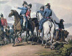 Lord Wellington and his staff at the Battle of Salamanca on 22nd July 1812 during the Peninsular War, also known as the Battle of Los Arapiles or Les Arapiles