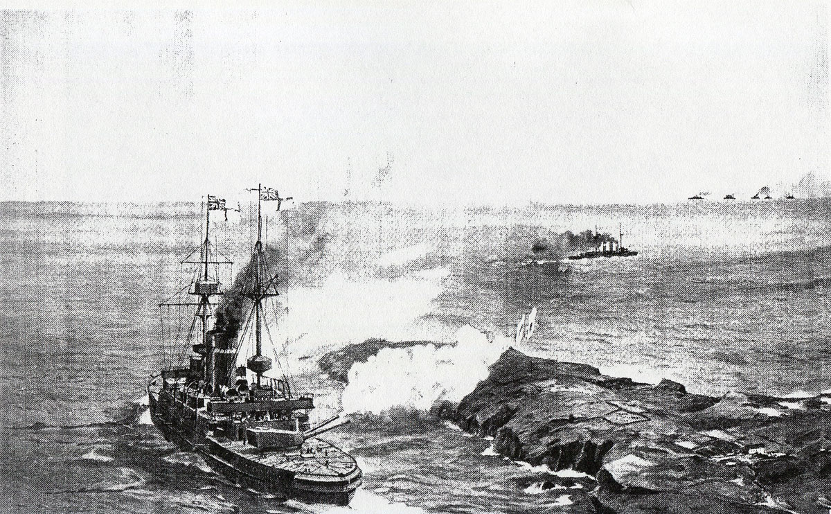 HMS Canopus opens fire at the beginning of the Battle of the Falkland Islands on 8th December 1914 in the First World War