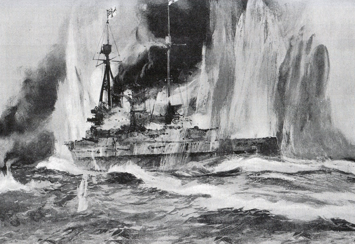 SMS Blucher falls behind the retreating German Squadron at the Battle of Dogger Bank on 24th January 1915 in the First World War