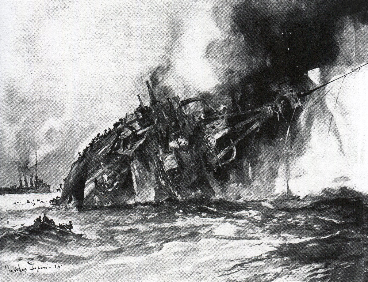 SMS Blucher sinking at the Battle of Dogger Bank on 24th January 1915 in the First World War