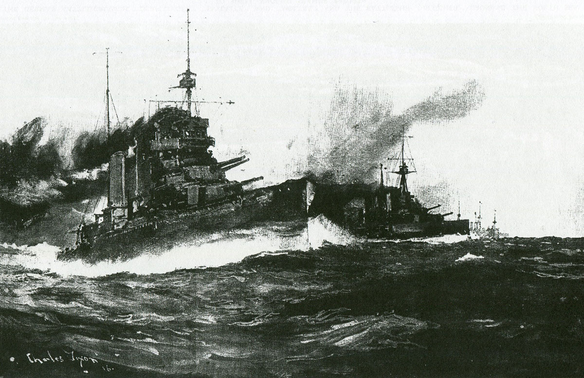 HMS Lion leads the British Battlecruisers at the Battle of Dogger Bank on 24th January 1915 in the First World War