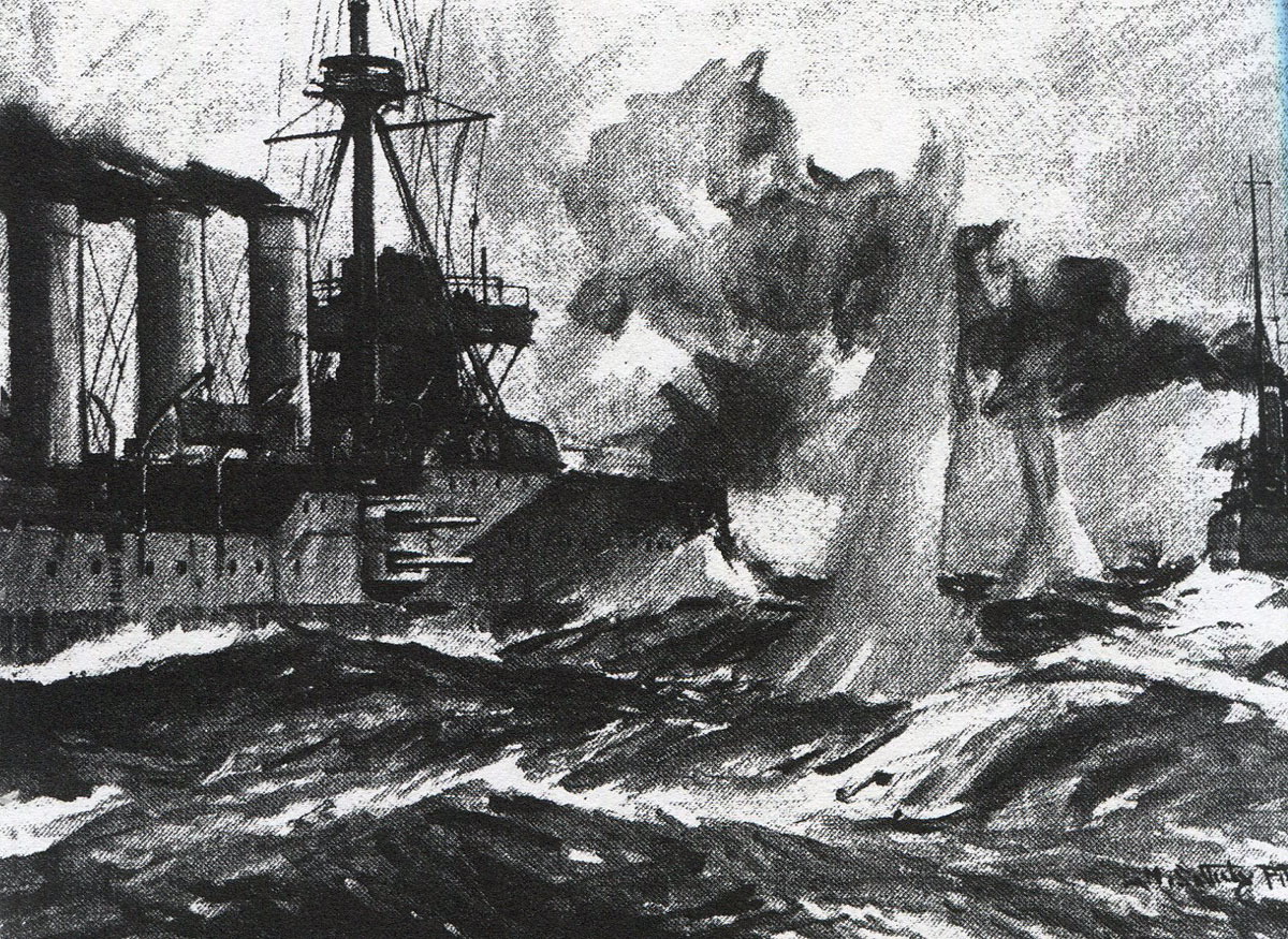 HMS Glasgow opens fire on SMS Leipzig in the Battle of the Falkland Islands on 8th December 1914 in the First World War