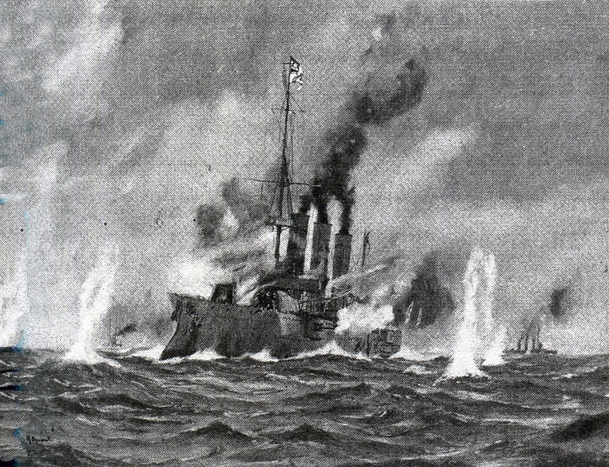 SMS Leipzig under fire in the Battle of the Falkland Islands on 8th December 1914 in the First World War
