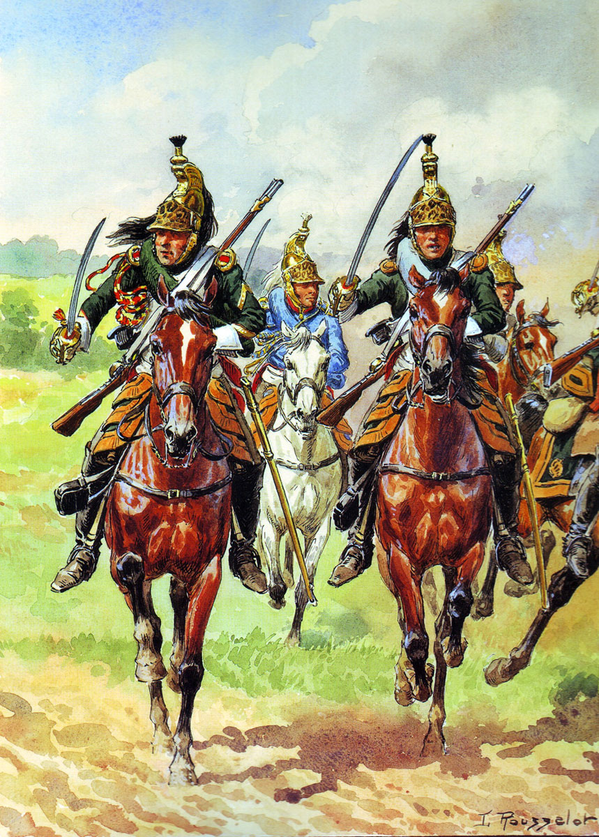 French Dragoons in the Charge: Battle of Majadahonda on 11th August 1812 in the Peninsular War: picture by Rousselot