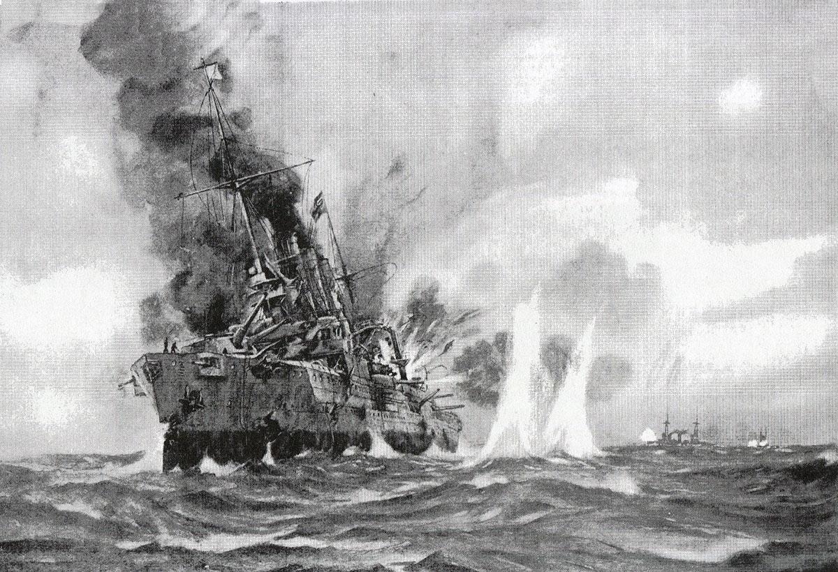 SMS Gneisenau in action during the Battle of the Falkland Islands on 8th December 1914 in the First World War
