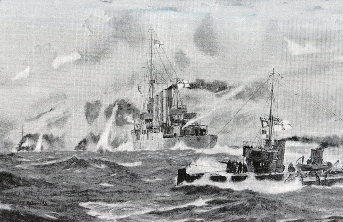 HMS Arethusa and the Harwich Destroyers engage German Torpedo Boats in the Battle of Heligoland Bight on 28th August 1914 in the First World War