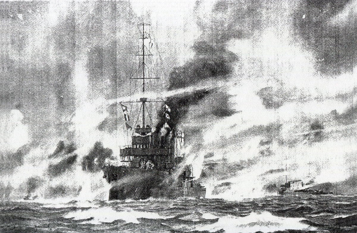 HMS Arethusa engages SMS Stettin and Frauenlob in the Battle of Heligoland Bight on 28th August 1914 in the First World War