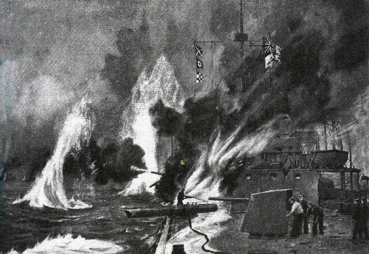 6 inch gun in action on HMS Arethusa in the Battle of Heligoland Bight on 28th August 1914 in the First World War