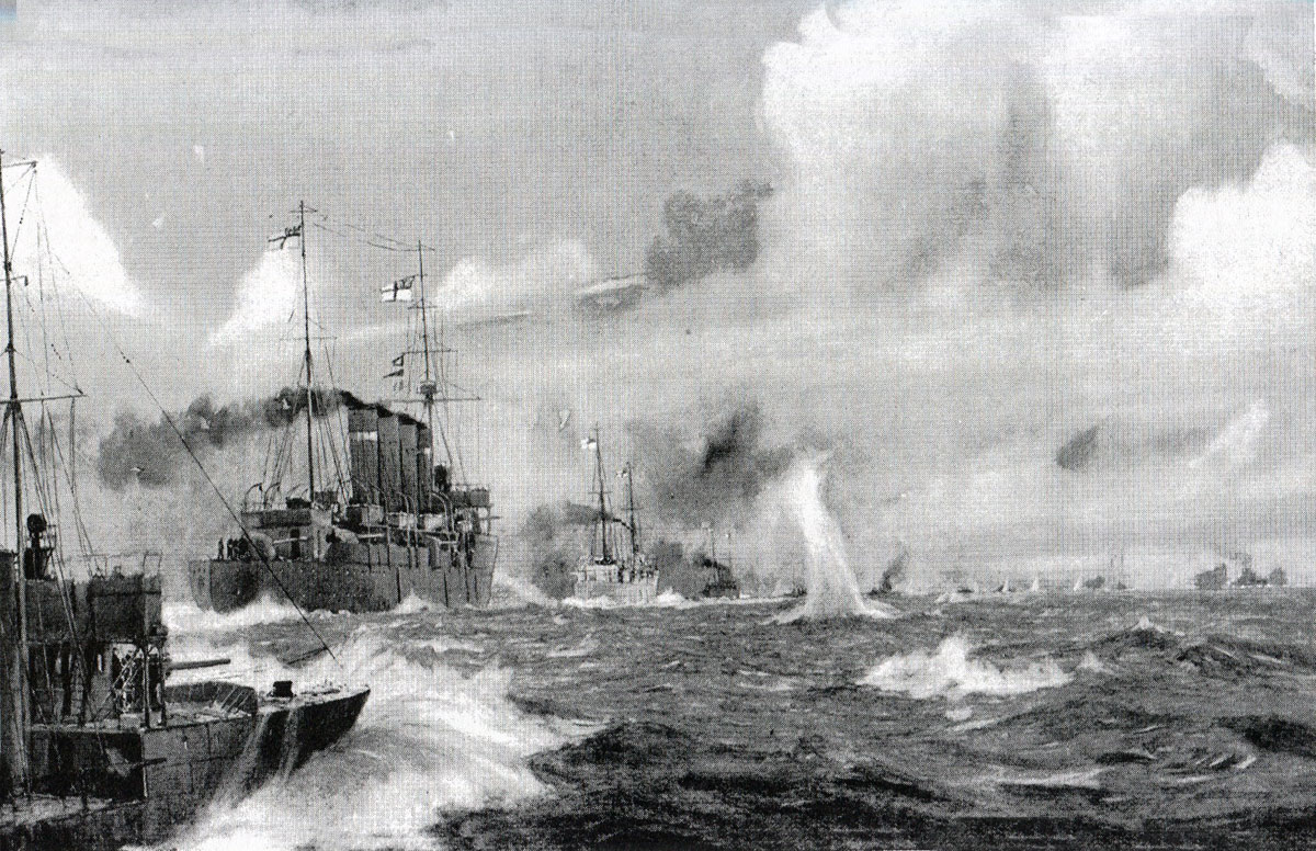 Commodore Goodenough's Light Cruiser Squadron goes into action in the Battle of Heligoland Bight on 28th August 1914 in the First World War