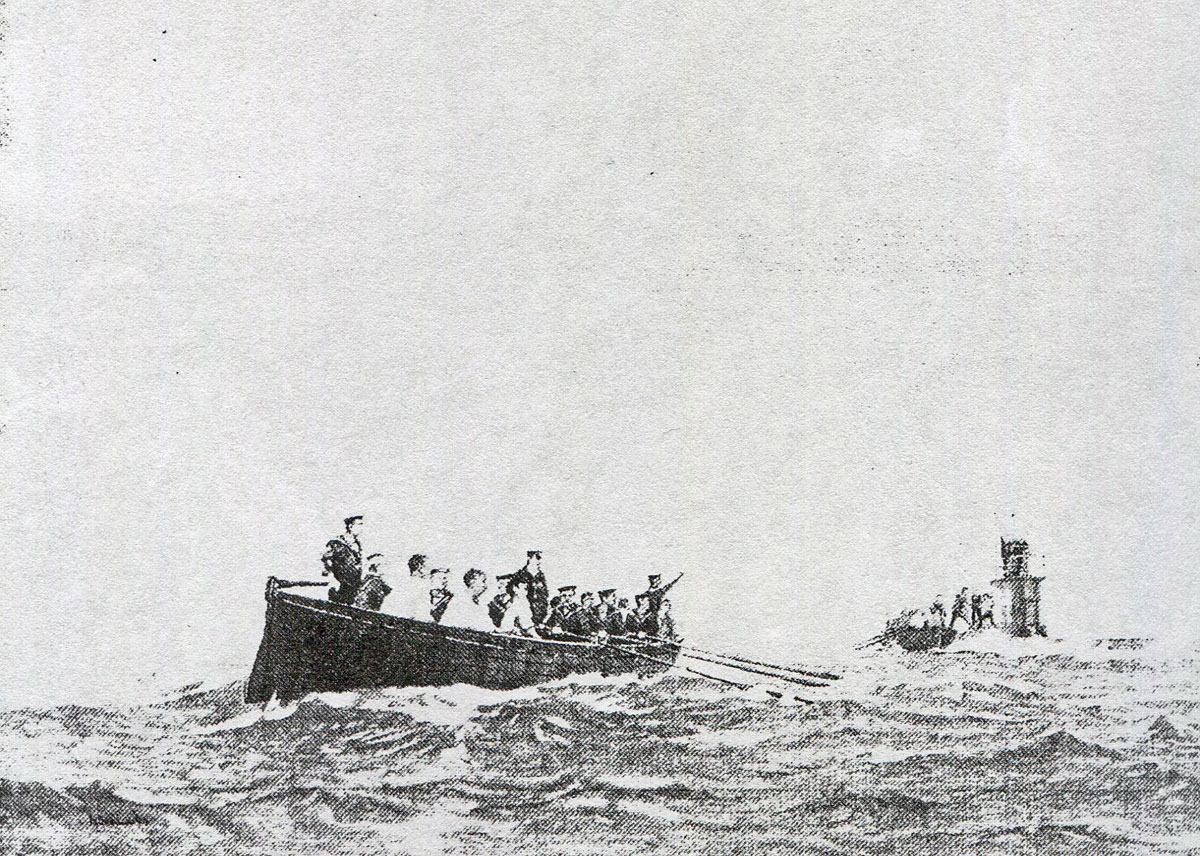 British submarine E14 sending the German wounded crew from V187  off with the bearings for Heligoland during the Battle of Heligoland Bight on 28th August 1914 in the First World War