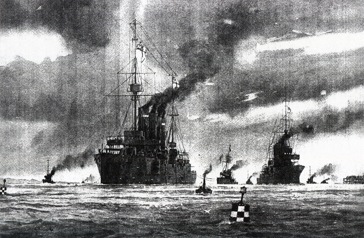 HMS Hogue tows HMS Arethusa into harbour after the Battle of Heligoland Bight on 28th August 1914 in the First World War