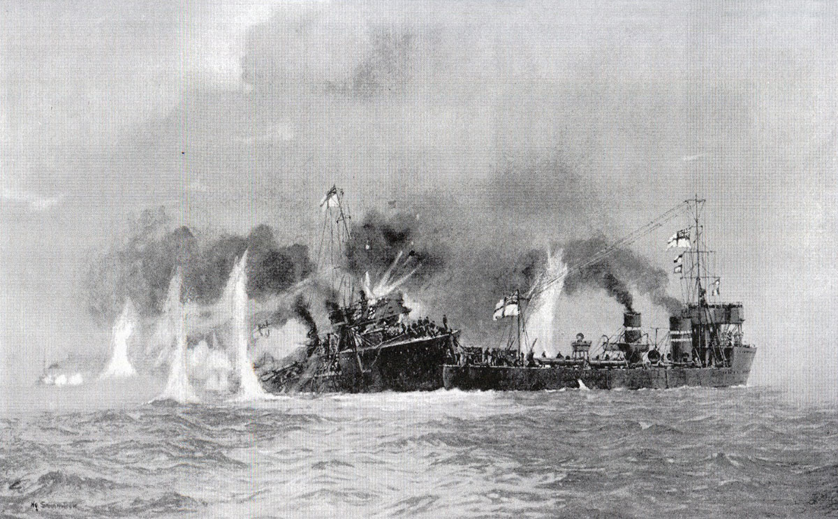 HMS Lapwing of 1st Flotilla attempting to take HMS Laertes of 3rd Flotilla in tow during the Battle of Heligoland Bight on 28th August 1914 in the First World War