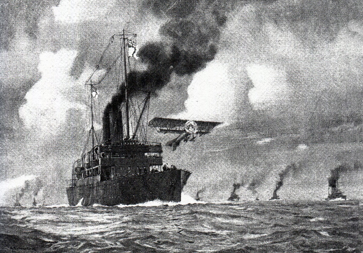 Flight Lieutenant Rutland takes off from HMS Engadine at the beginning of the Battle of Jutland 31st May 1916 in the First World War