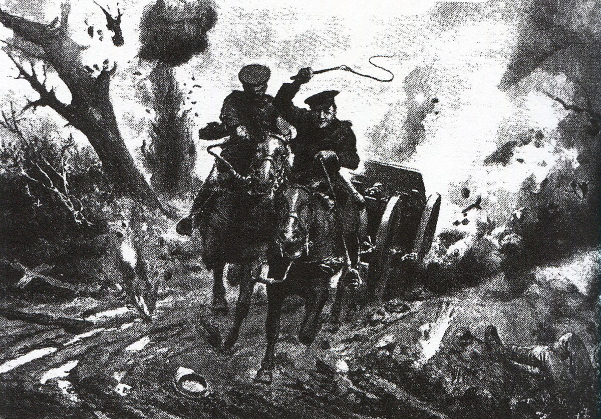 Driver O'Brien taking his gun out of action at the Battle of Le Cateau on 26th August 1914 in the First World War