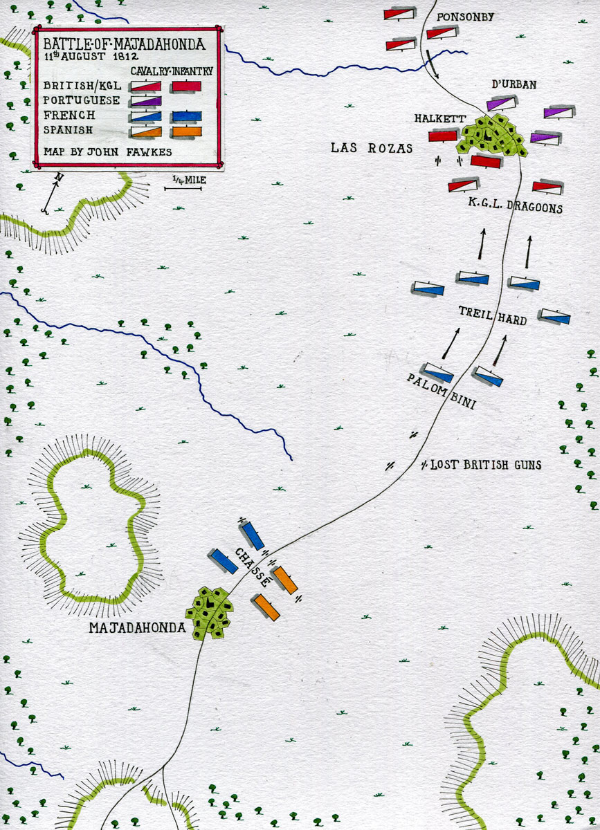 Map of the Battle of Majadahonda on 11th August 1812 in the Peninsular War: map by John Fawkes