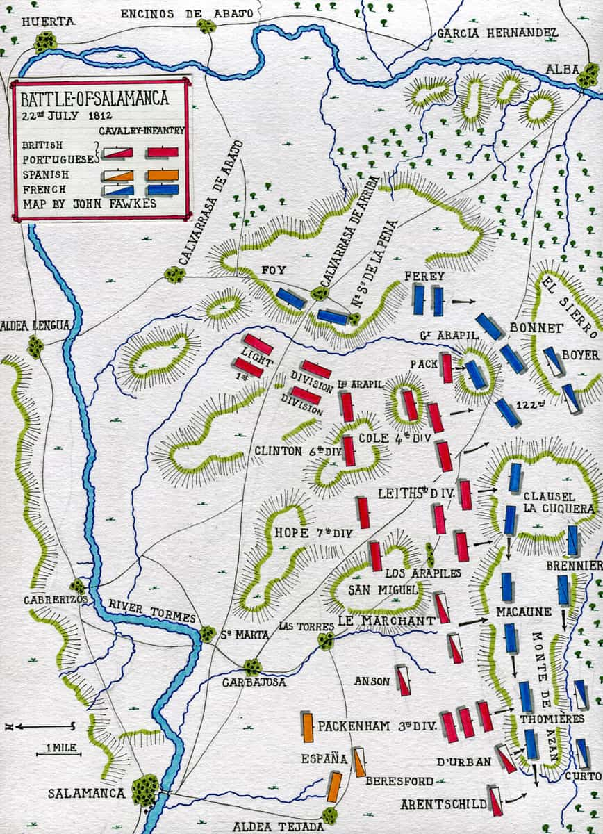 Map of the Battle of Salamanca on 22nd July 1812 during the Peninsular War, also known as the Battle of Los Arapiles or Les Arapiles: map by John Fawkes