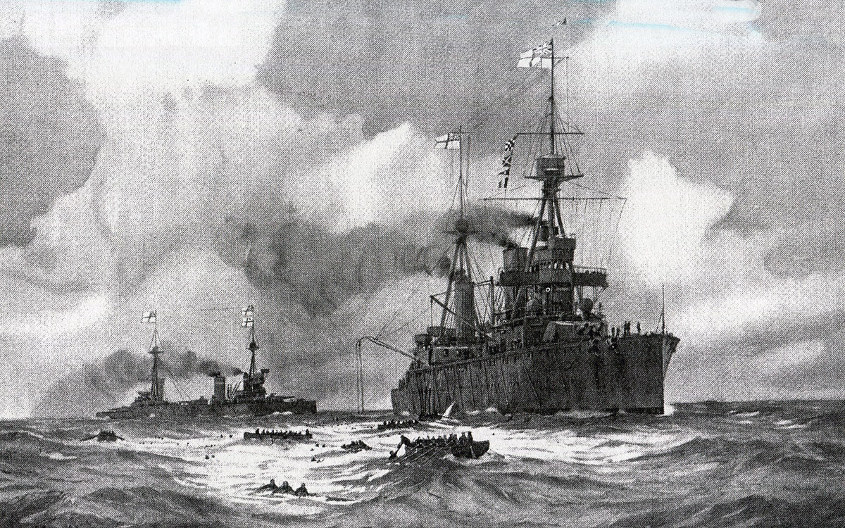 Rescuing the survivors from SMS Gneisenau in the Battle of the Falkland Islands on 8th December 1914 in the First World War