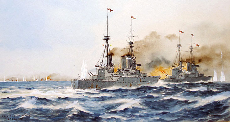 HMS Invincible and Inflexible in action at the beginning of the Battle of the Falkland Islands on 8th December 1914 in the First World War: picture by Eric Tuffnell