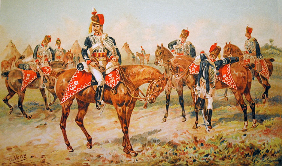10th Prince of Wales's Own Royal Hussars: Battle of Morales de Toro on 2nd June 1813: picture by Orlando Norie