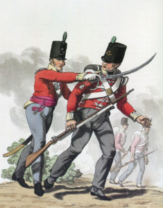 Officer and soldier of the 52nd Light Infantry: Battle of San Millan and Osma on 18th June 1813 in the Peninsular War: picture by Hamilton Smith