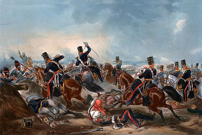 Attack of the British 3rd King's Own Light Dragoons at the Battle of Ferozeshah on 22nd December 1845 during the First Sikh War: picture by Martens