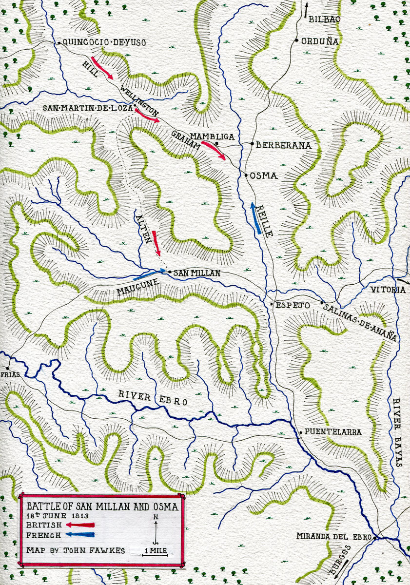 Map of the Battle of San Millan and Osma on 18th June 1813 in the Peninsular War: map by John Fawkes