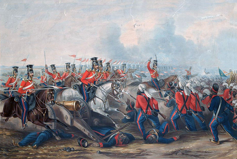Charge of the 16th Queen's Lancers at the Battle of Aliwal on 28th January 1846 in the First Sikh War: picture by Martens